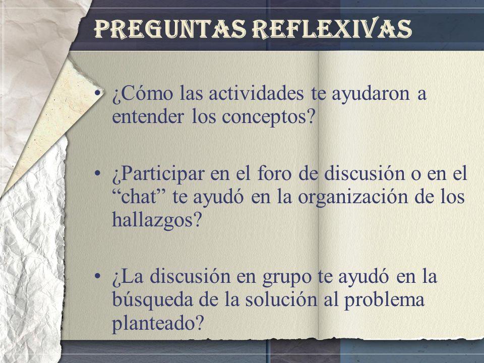 Preguntas Reflexivas ¿Cómo las actividades te ayudaron a entender los conceptos? ¿Participar en el foro de discusión o en el chat te ayudó en la organ