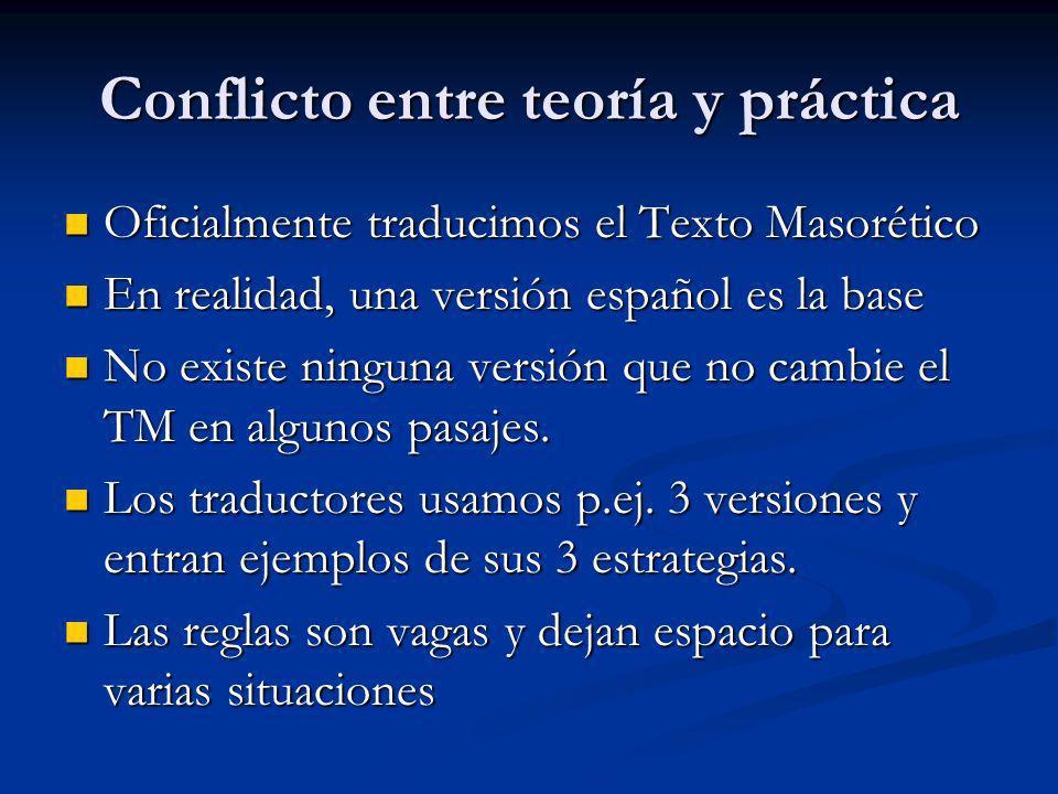 Conflicto entre teoría y práctica Oficialmente traducimos el Texto Masorético Oficialmente traducimos el Texto Masorético En realidad, una versión esp