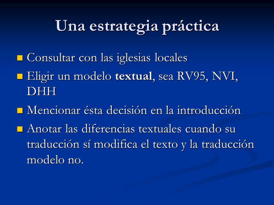Una estrategia práctica Consultar con las iglesias locales Consultar con las iglesias locales Eligir un modelo textual, sea RV95, NVI, DHH Eligir un m