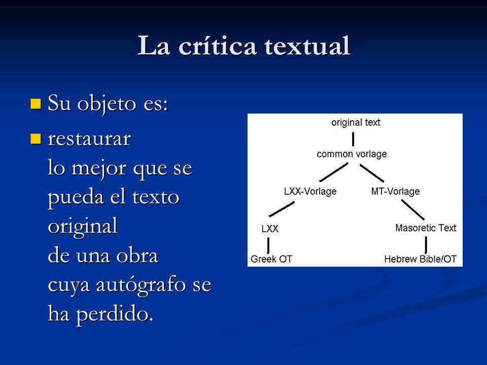 La crítica textual Su objeto es: Su objeto es: restaurar lo mejor que se pueda el texto original de una obra cuya autógrafo se ha perdido. restaurar l
