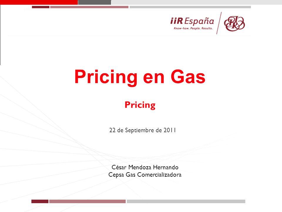 1 Pricing en Gas Pricing 22 de Septiembre de 2011 César Mendoza Hernando Cepsa Gas Comercializadora