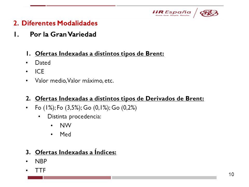 10 2. Diferentes Modalidades 1.Por la Gran Variedad 1.Ofertas Indexadas a distintos tipos de Brent: Dated ICE Valor medio, Valor máximo, etc. 2.Oferta