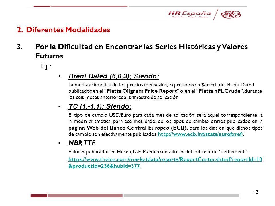 13 2. Diferentes Modalidades 3.Por la Dificultad en Encontrar las Series Históricas y Valores Futuros Ej.: Brent Dated (6,0,3); Siendo: La media aritm