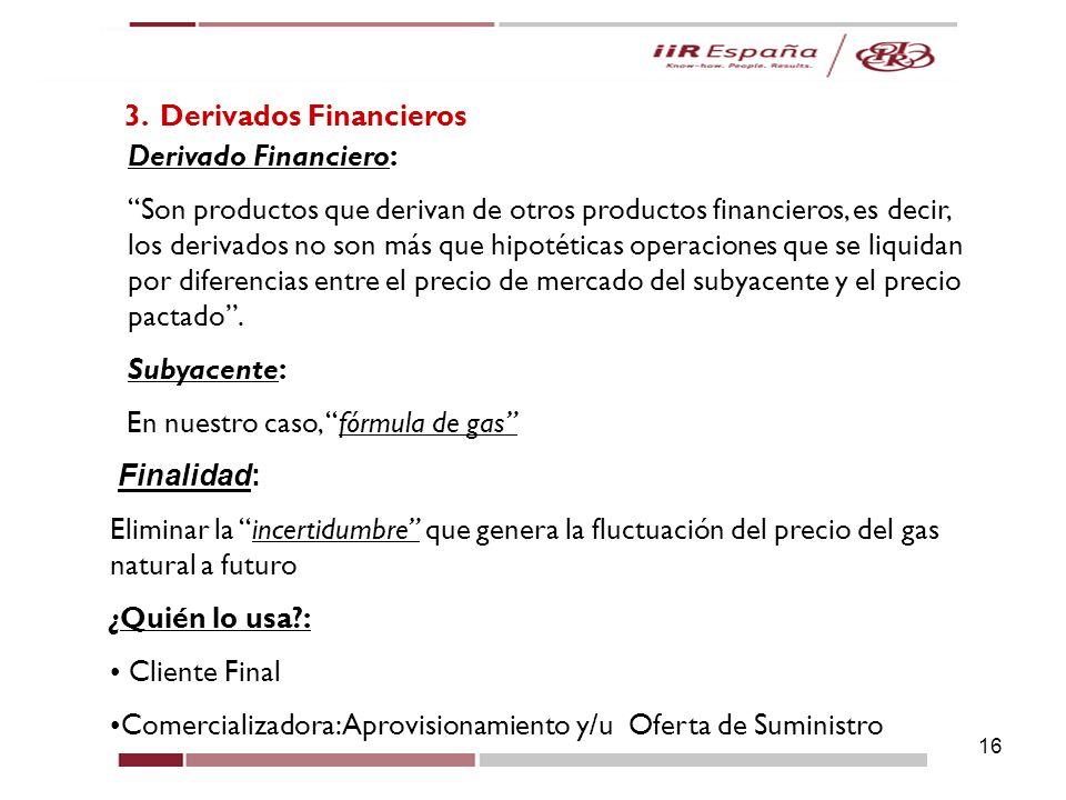 16 3. Derivados Financieros Derivado Financiero: Son productos que derivan de otros productos financieros, es decir, los derivados no son más que hipo