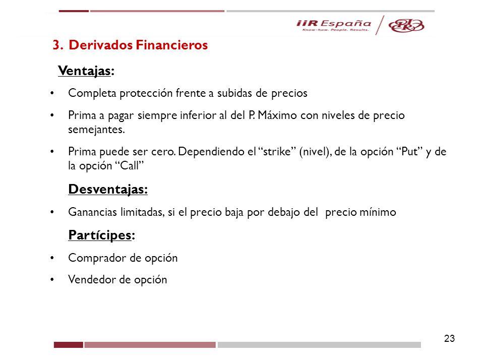 23 3. Derivados Financieros Ventajas: Completa protección frente a subidas de precios Prima a pagar siempre inferior al del P. Máximo con niveles de p
