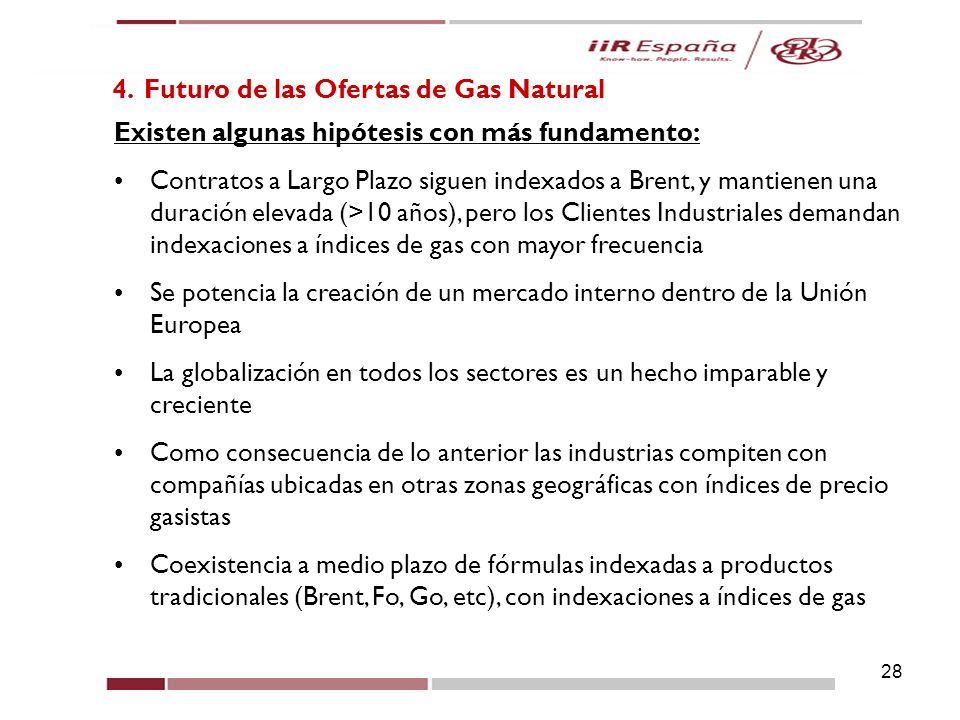 28 4. Futuro de las Ofertas de Gas Natural Existen algunas hipótesis con más fundamento: Contratos a Largo Plazo siguen indexados a Brent, y mantienen