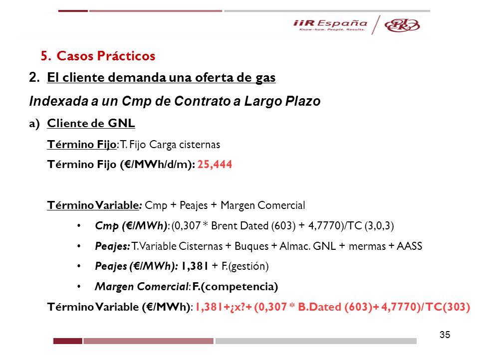 35 5. Casos Prácticos 2. El cliente demanda una oferta de gas Indexada a un Cmp de Contrato a Largo Plazo a)Cliente de GNL Término Fijo: T. Fijo Carga