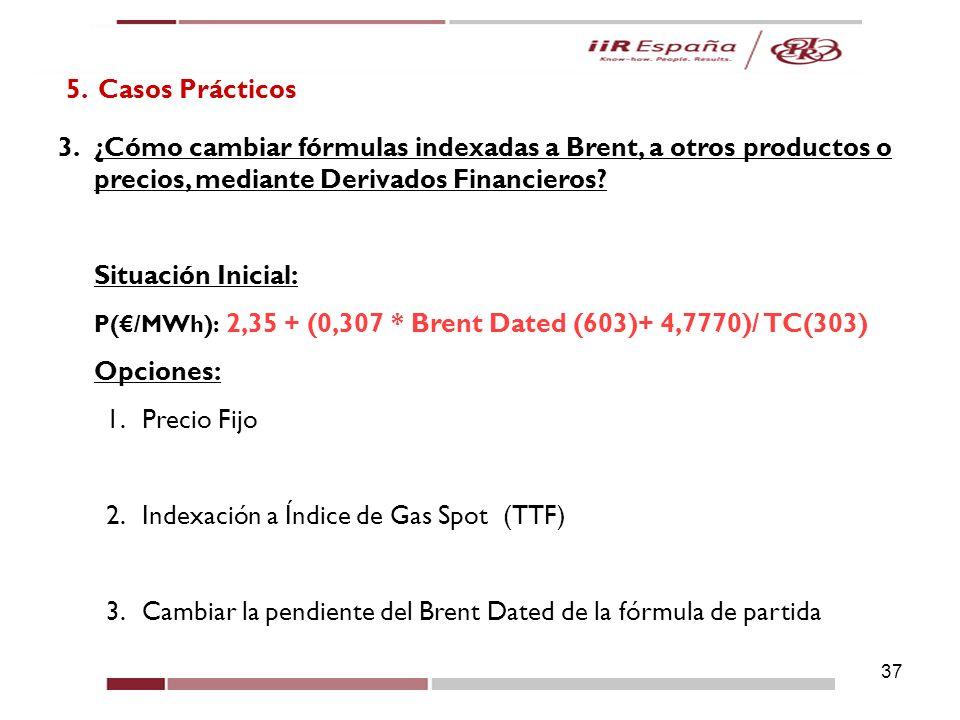 37 5. Casos Prácticos 3.¿Cómo cambiar fórmulas indexadas a Brent, a otros productos o precios, mediante Derivados Financieros? Situación Inicial: P(/M