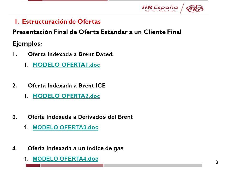 8 1. Estructuración de Ofertas Presentación Final de Oferta Estándar a un Cliente Final Ejemplos : 1.Oferta Indexada a Brent Dated: 1.MODELO OFERTA1.d