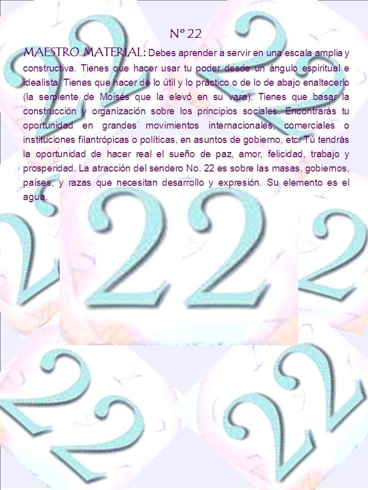 Nº 22 MAESTRO MATERIAL : Debes aprender a servir en una escala amplia y constructiva. Tienes que hacer usar tu poder desde un ángulo espiritual e idea