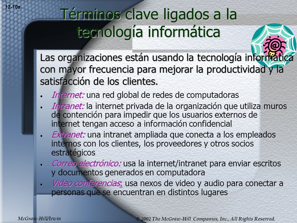 McGraw-Hill/Irwin © 2002 The McGraw-Hill Companies, Inc., All Rights Reserved. Términos clave ligados a la tecnología informática Internet: Internet: