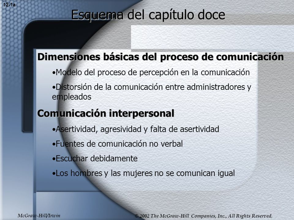 McGraw-Hill/Irwin © 2002 The McGraw-Hill Companies, Inc., All Rights Reserved. Esquema del capítulo doce Dimensiones básicas del proceso de comunicaci