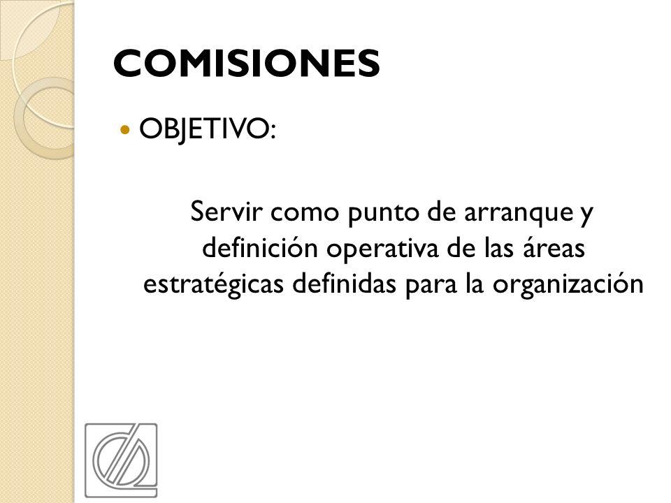 COMISIONES OBJETIVO: Servir como punto de arranque y definición operativa de las áreas estratégicas definidas para la organización