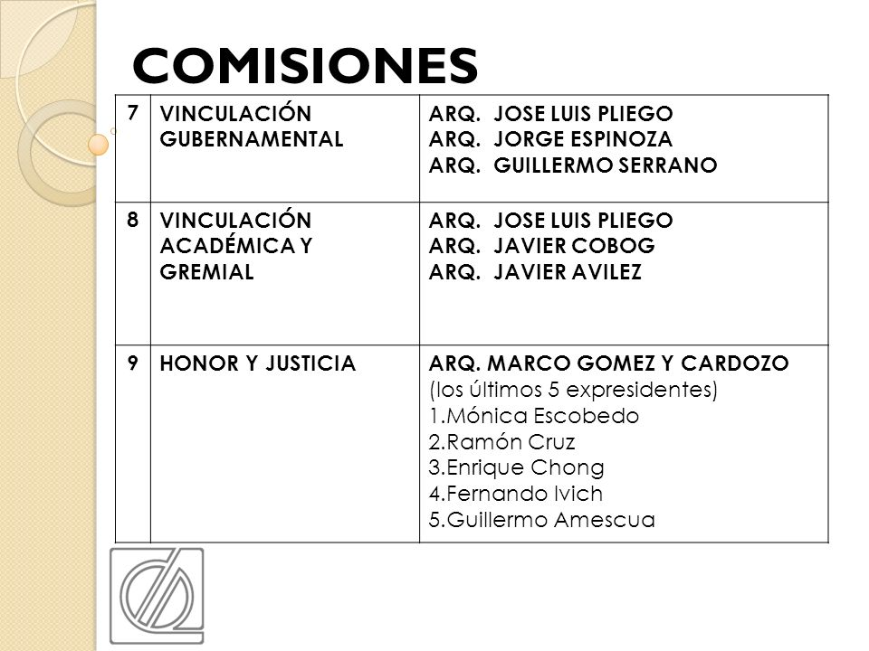 7VINCULACIÓN GUBERNAMENTAL ARQ. JOSE LUIS PLIEGO ARQ. JORGE ESPINOZA ARQ. GUILLERMO SERRANO 8VINCULACIÓN ACADÉMICA Y GREMIAL ARQ. JOSE LUIS PLIEGO ARQ