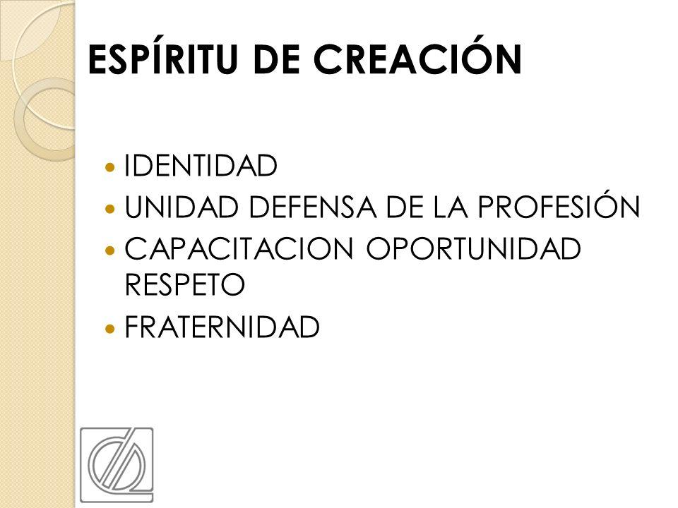 ESPÍRITU DE CREACIÓN IDENTIDAD UNIDAD DEFENSA DE LA PROFESIÓN CAPACITACION OPORTUNIDAD RESPETO FRATERNIDAD