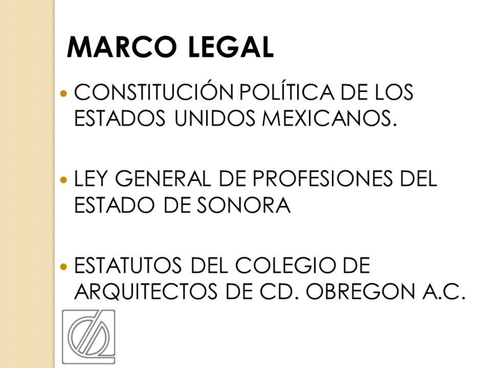 CONSTITUCIÓN POLÍTICA DE LOS ESTADOS UNIDOS MEXICANOS. LEY GENERAL DE PROFESIONES DEL ESTADO DE SONORA ESTATUTOS DEL COLEGIO DE ARQUITECTOS DE CD. OBR