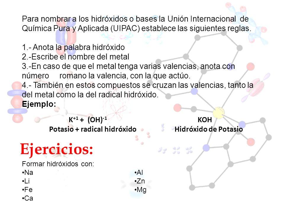 Ejercicios: Formar hidróxidos con: Na Li Fe Ca Al Zn Mg Para nombrar a los hidróxidos o bases la Unión Internacional de Química Pura y Aplicada (UIPAC