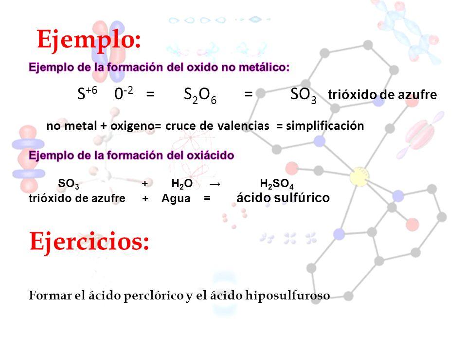 Ejemplo: S +6 0 -2 = S 2 O 6 = SO 3 trióxido de azufre no metal + oxigeno= cruce de valencias = simplificación Ejercicios: Formar el ácido perclórico