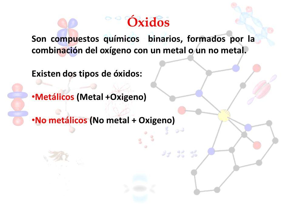 Óxidos Son compuestos químicos binarios, formados por la combinación del oxígeno con un metal o un no metal. Existen dos tipos de óxidos: Metálicos (M