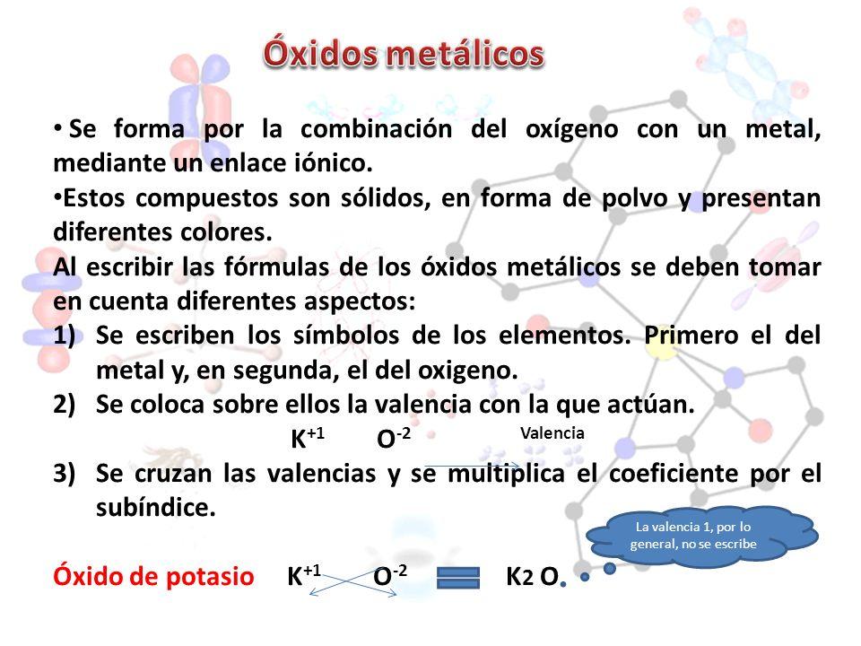 Se forma por la combinación del oxígeno con un metal, mediante un enlace iónico. Estos compuestos son sólidos, en forma de polvo y presentan diferente