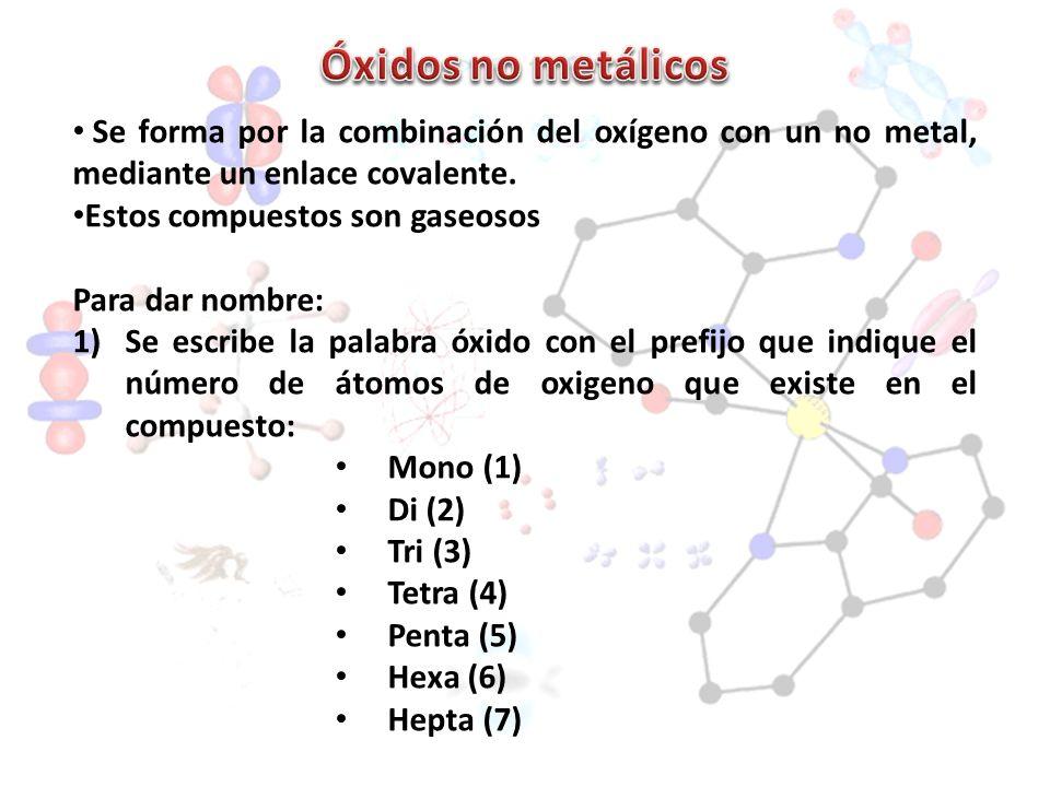 Se forma por la combinación del oxígeno con un no metal, mediante un enlace covalente. Estos compuestos son gaseosos Para dar nombre: 1)Se escribe la