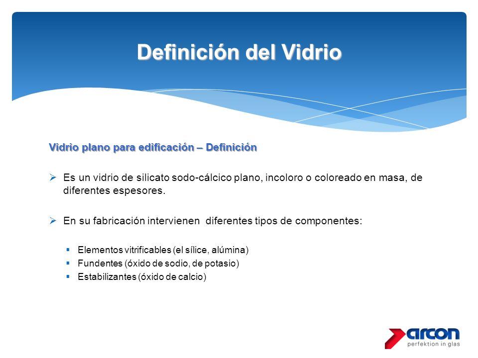 Definición del Vidrio Vidrio plano para edificación – Definición Es un vidrio de silicato sodo-cálcico plano, incoloro o coloreado en masa, de diferen