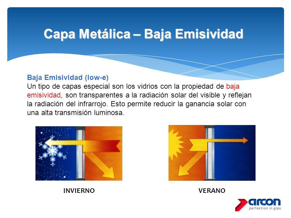 Capa Metálica – Baja Emisividad Baja Emisividad (low-e) Un tipo de capas especial son los vidrios con la propiedad de baja emisividad, son transparent