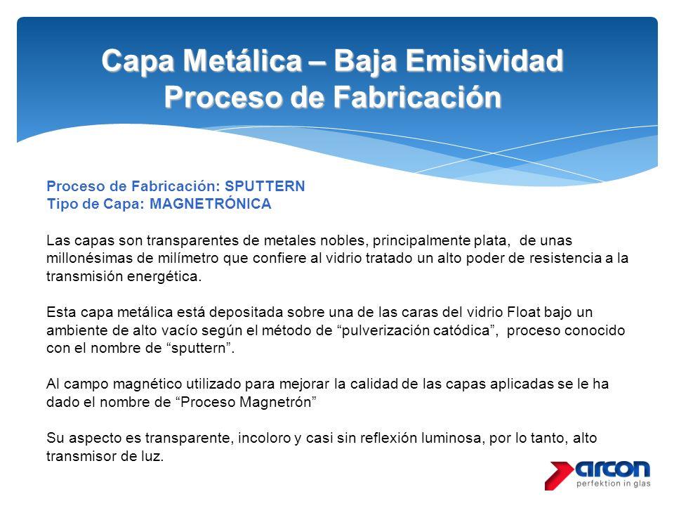 Capa Metálica – Baja Emisividad Proceso de Fabricación Proceso de Fabricación: SPUTTERN Tipo de Capa: MAGNETRÓNICA Las capas son transparentes de meta