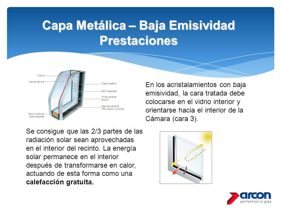 Capa Metálica – Baja Emisividad Prestaciones Se consigue que las 2/3 partes de las radiación solar sean aprovechadas en el interior del recinto. La en