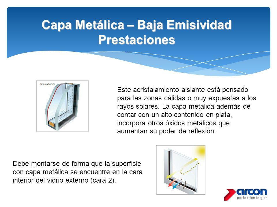 Capa Metálica – Baja Emisividad Prestaciones Debe montarse de forma que la superficie con capa metálica se encuentre en la cara interior del vidrio ex