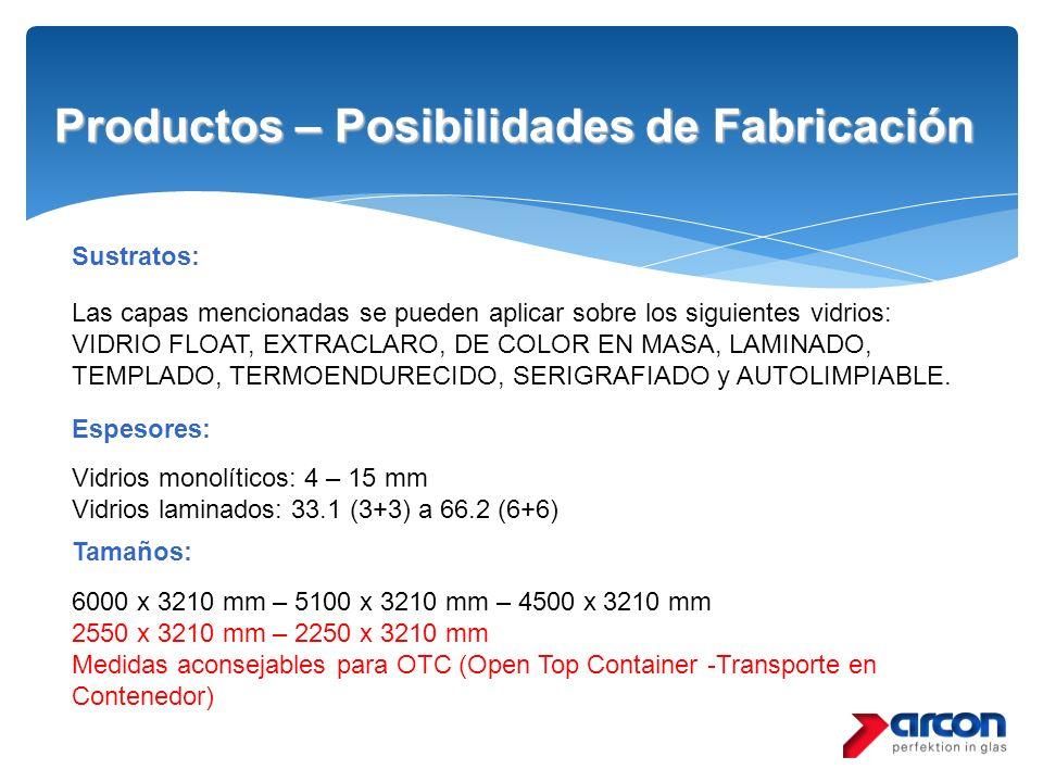Productos – Posibilidades de Fabricación Las capas mencionadas se pueden aplicar sobre los siguientes vidrios: VIDRIO FLOAT, EXTRACLARO, DE COLOR EN M