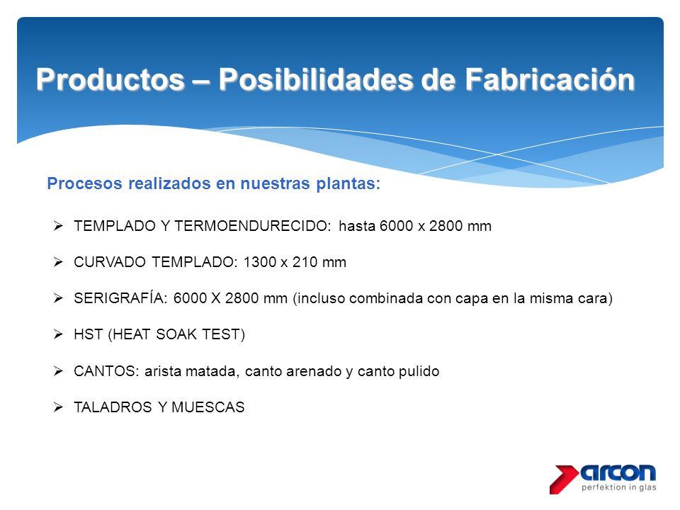 Productos – Posibilidades de Fabricación Procesos realizados en nuestras plantas: TEMPLADO Y TERMOENDURECIDO: hasta 6000 x 2800 mm CURVADO TEMPLADO: 1