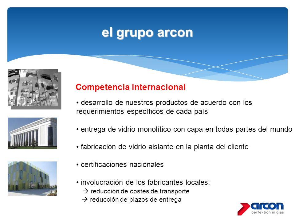 el grupo arcon Competencia Internacional desarrollo de nuestros productos de acuerdo con los requerimientos específicos de cada país entrega de vidrio
