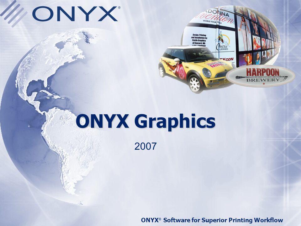 ONYX ® Software for Superior Printing Workflow Características importantes cuando elegimos un RIP Las prioridades para elegir un nuevo RIP han cambiado desde 2004, cuando lo mas importante era tener uno de la misma marca (61% del total) En el 2005, los encuestados se centran más en características concretas del producto tales como: –Fiabilidad fue lo más importante, con un 34% –Fácil de usar y velocidad fueron muy importantes, con un 21% y 14% respectivamente