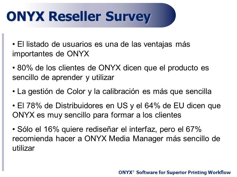 ONYX ® Software for Superior Printing Workflow ONYX Reseller Survey El listado de usuarios es una de las ventajas más importantes de ONYX 80% de los c