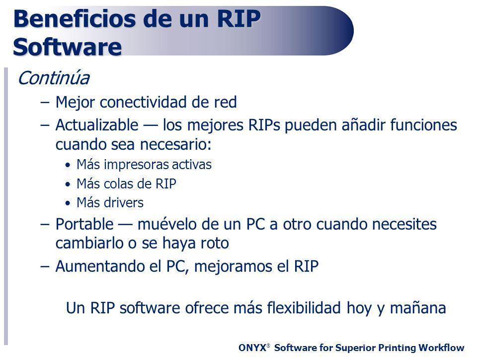 ONYX ® Software for Superior Printing Workflow Beneficios de un RIP Software Continúa –Mejor conectividad de red –Actualizable los mejores RIPs pueden