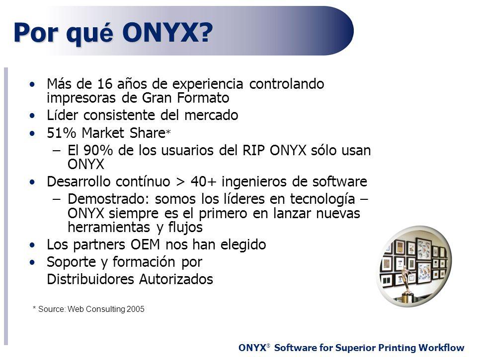 ONYX ® Software for Superior Printing Workflow Más de 16 años de experiencia controlando impresoras de Gran Formato L í der consistente del mercado 51