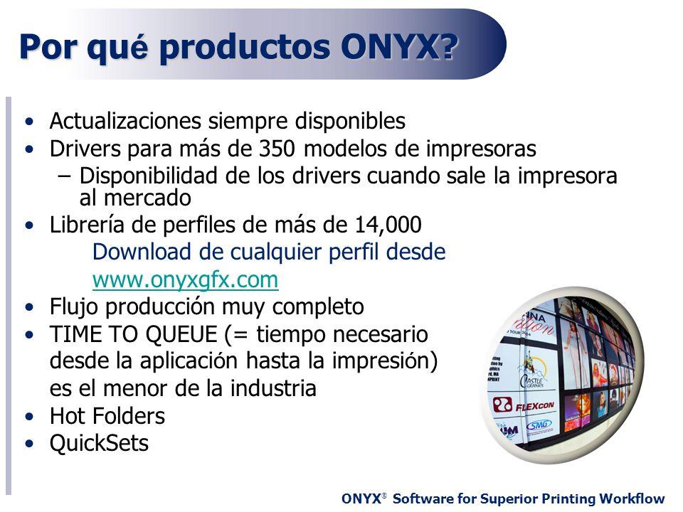 ONYX ® Software for Superior Printing Workflow Por qu é productos ONYX? Actualizaciones siempre disponibles Drivers para más de 350 modelos de impreso