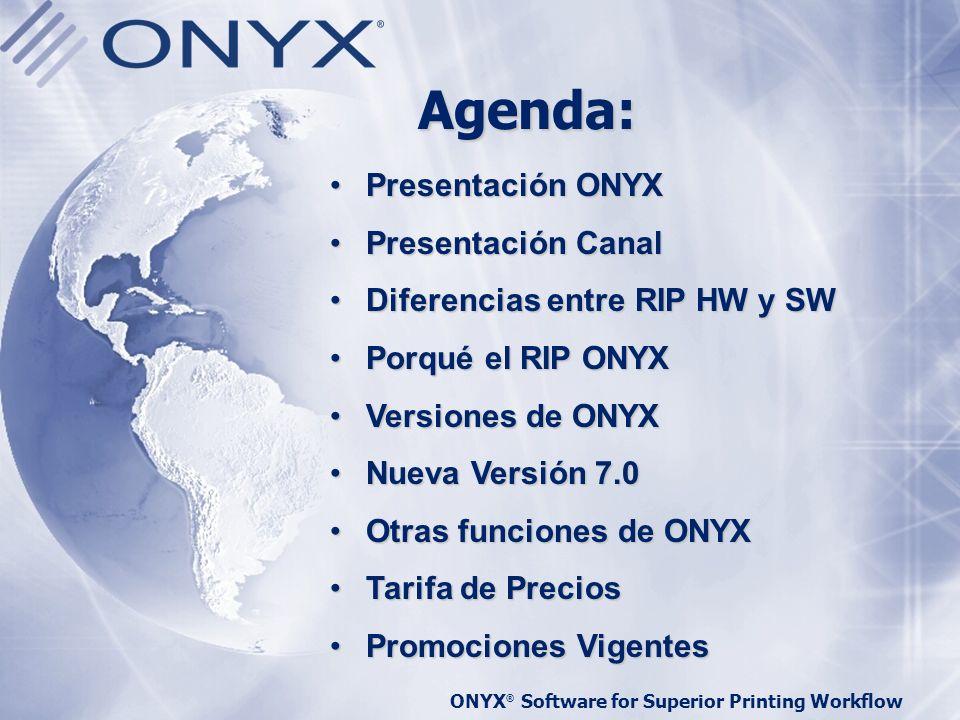 ONYX ® Software for Superior Printing Workflow ONYX Graphics Background Fundada en 1989 L í der Mundial en software de Large- Format Printing Fuerte canal de distribución mundial