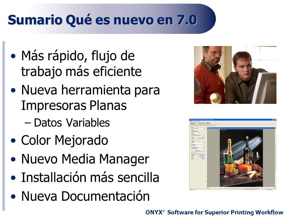 ONYX ® Software for Superior Printing Workflow Sumario Qué es nuevo en 7.0 Más rápido, flujo de trabajo más eficiente Nueva herramienta para Impresora