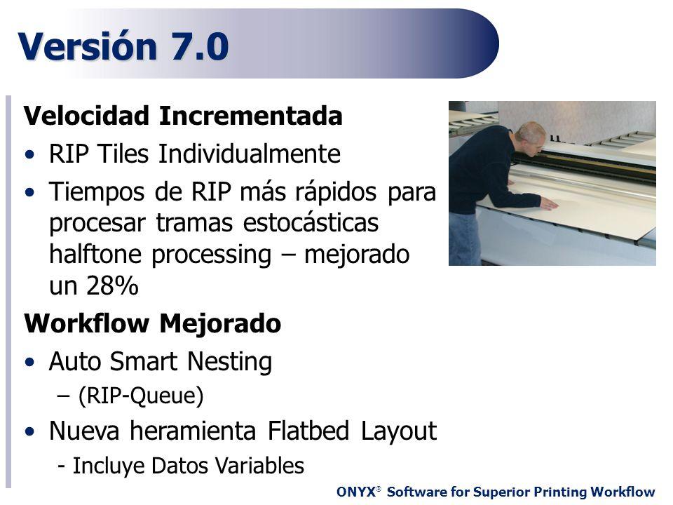 ONYX ® Software for Superior Printing Workflow Versión 7.0 Velocidad Incrementada RIP Tiles Individualmente Tiempos de RIP más rápidos para procesar t
