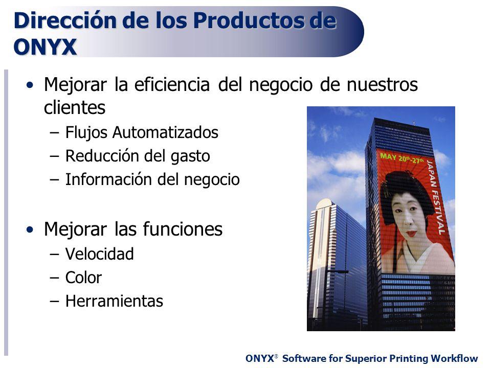 ONYX ® Software for Superior Printing Workflow Dirección de los Productos de ONYX Mejorar la eficiencia del negocio de nuestros clientes –Flujos Autom