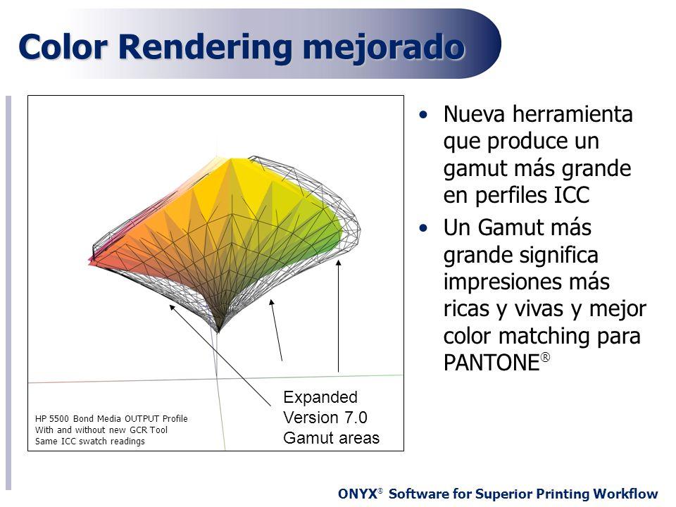 ONYX ® Software for Superior Printing Workflow Color Rendering mejorado Nueva herramienta que produce un gamut más grande en perfiles ICC Un Gamut más