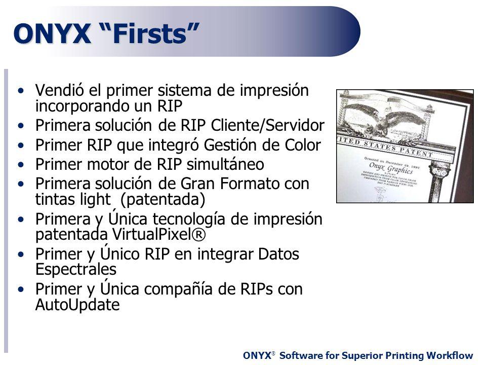 ONYX ® Software for Superior Printing Workflow ONYX Firsts Vendió el primer sistema de impresión incorporando un RIP Primera solución de RIP Cliente/S