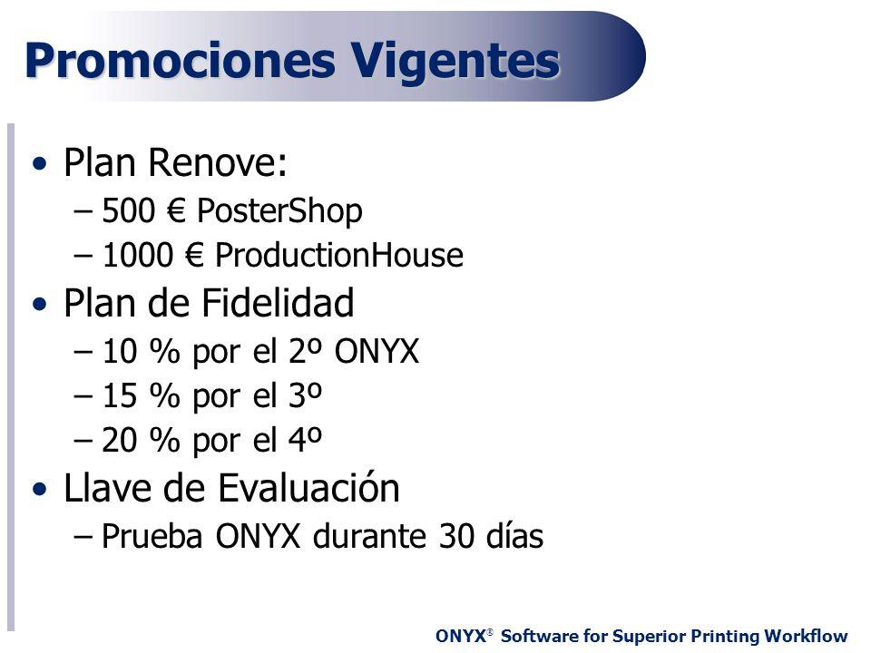 ONYX ® Software for Superior Printing Workflow Promociones Vigentes Plan Renove: –500 PosterShop –1000 ProductionHouse Plan de Fidelidad –10 % por el