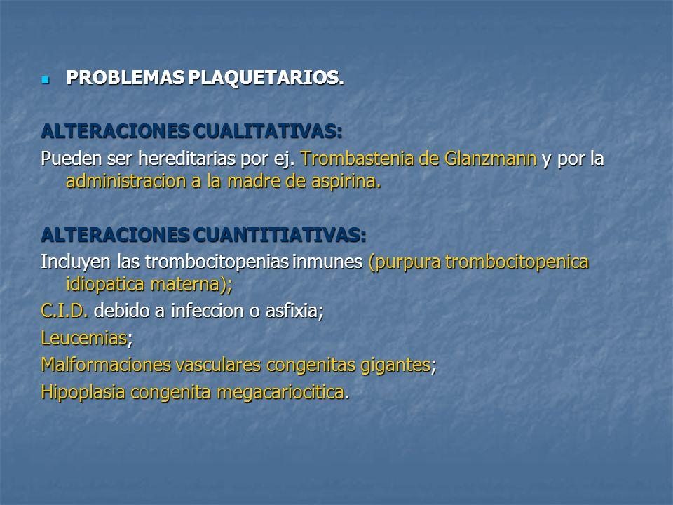 PROBLEMAS PLAQUETARIOS. PROBLEMAS PLAQUETARIOS. ALTERACIONES CUALITATIVAS: Pueden ser hereditarias por ej. Trombastenia de Glanzmann y por la administ