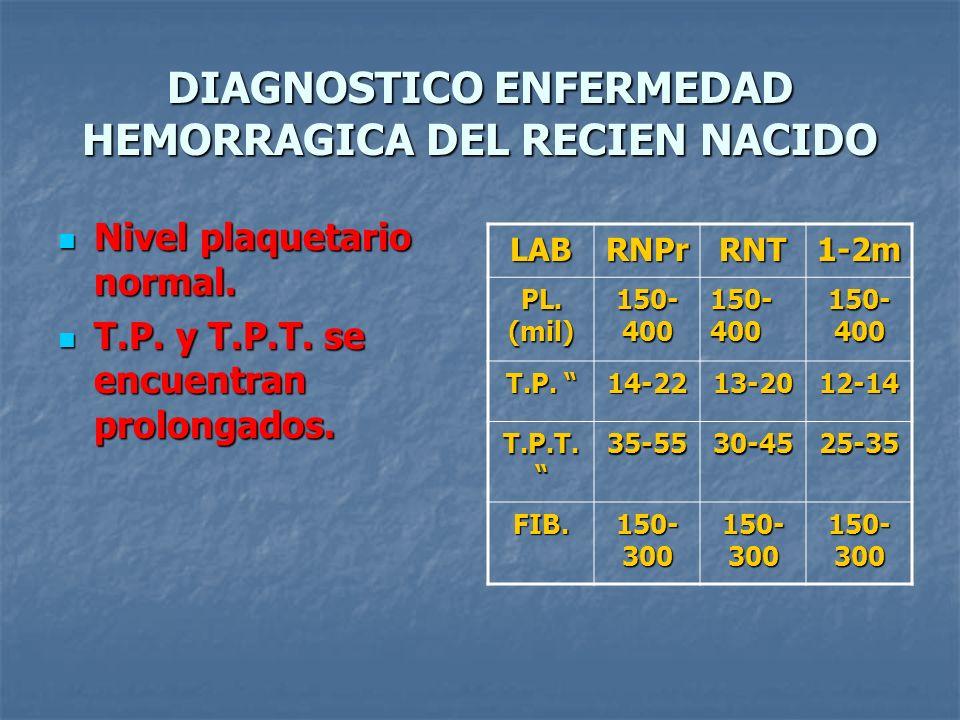 DIAGNOSTICO ENFERMEDAD HEMORRAGICA DEL RECIEN NACIDO Nivel plaquetario normal. Nivel plaquetario normal. T.P. y T.P.T. se encuentran prolongados. T.P.