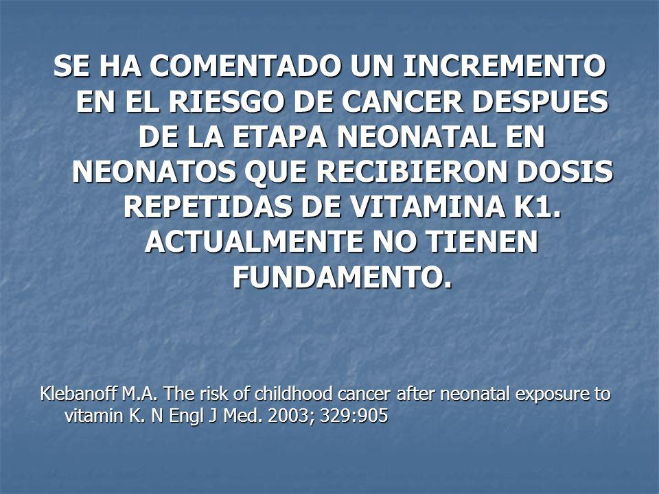 SE HA COMENTADO UN INCREMENTO EN EL RIESGO DE CANCER DESPUES DE LA ETAPA NEONATAL EN NEONATOS QUE RECIBIERON DOSIS REPETIDAS DE VITAMINA K1. ACTUALMEN