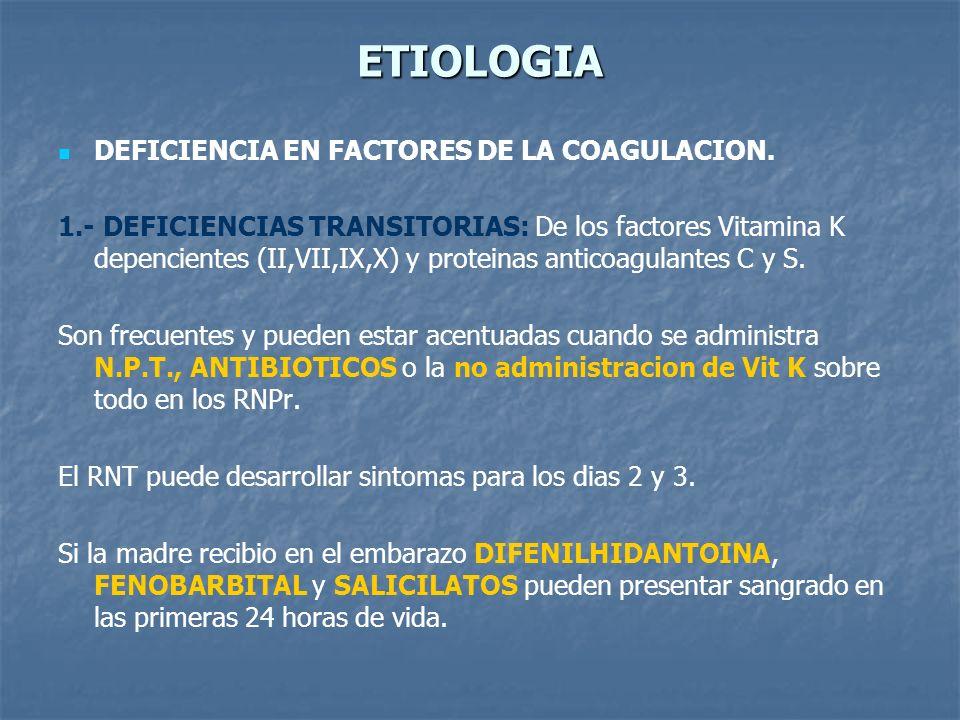 ETIOLOGIA DEFICIENCIA EN FACTORES DE LA COAGULACION. 1.- DEFICIENCIAS TRANSITORIAS: De los factores Vitamina K depencientes (II,VII,IX,X) y proteinas