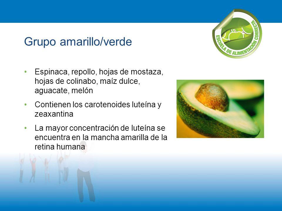 Grupo amarillo/verde Espinaca, repollo, hojas de mostaza, hojas de colinabo, maíz dulce, aguacate, melón Contienen los carotenoides luteína y zeaxanti